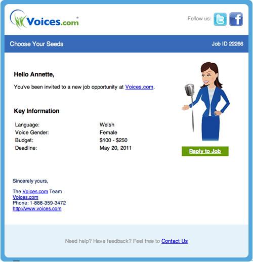 Public Job invitation to a Public Job at Voices.com