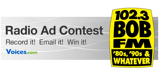 Voices.com radio ad contest with commercial to air on 102.3 BOB FM