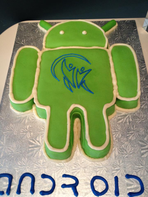 Voices.com celebrates Android app launch with Android Cake emblazoned with Voices.com logo on the Android's chest.