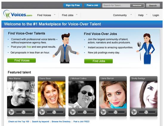 Voices.com web app