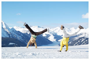 Snowy mountain cartwheeling