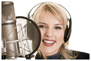 Blond haired woman with microphone
