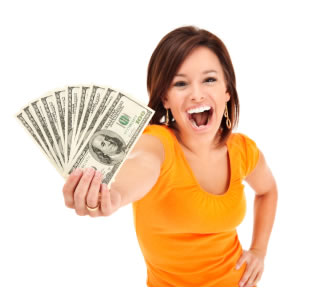 Woman holding money in fan shape
