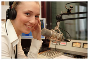 female radio announcer
