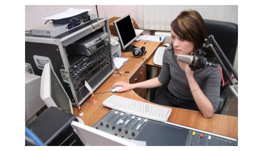Woman announcer at radio station