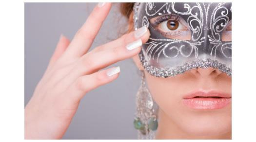 Woman wearing a Venetian mask